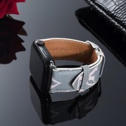 Louis Vuitton Style Color Series Large Monogram Leather Compatible With Apple Watch 38mm 40mm 42mm 44mm Band Strap For iWatch Series 4/3/2/1 - Casememe