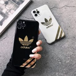 Adidas Style Electroplating Glossy TPU Silicone Designer iPhone Case For iPhone 12 SE 11 Pro Max X XS XS Max XR 7 8 Plus - Casememe