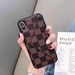 Louis Vuitton Gucci Style Monogram Damier Card Holder Leather Designer iPhone Case For iPhone X XS XS Max XR 7 8 Plus - Casememe