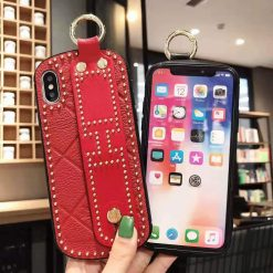 Hermes Style Leather Strap Designer iPhone Case For iPhone X XS XS Max XR 7 8 Plus - Casememe