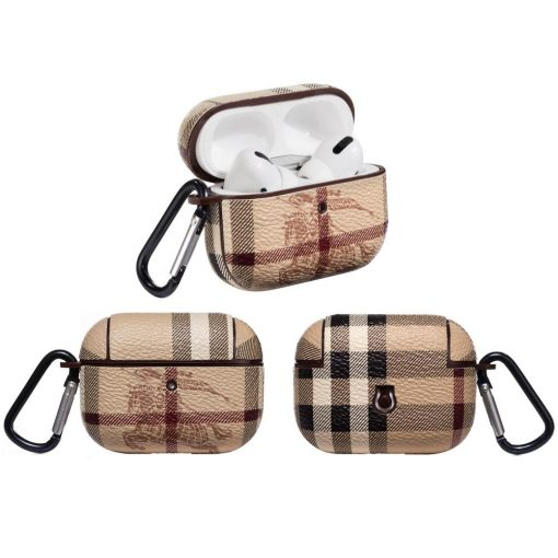 Burberry Style Classic Leather Protective Case For Apple Airpods Pro - Casememe