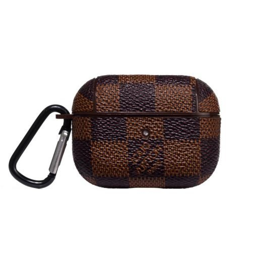 Damier Brown Luxury Leather Protective Case For Apple Airpods Pro - Casememe