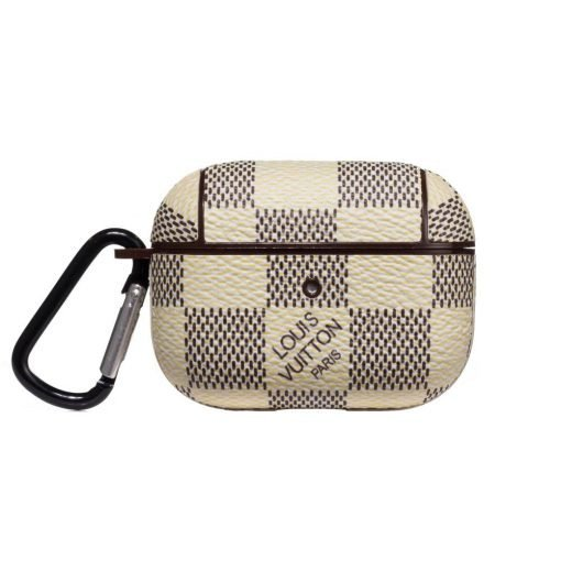 White Damier Luxury Leather Protective Case For Apple Airpods Pro - Casememe