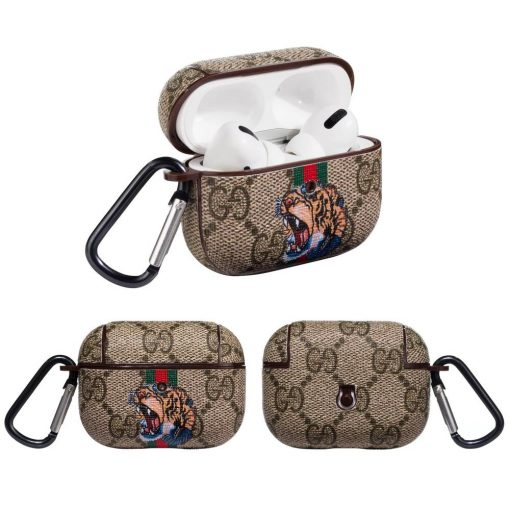 Gucci Style Tiger Leather Protective Case For Apple Airpods Pro - Casememe
