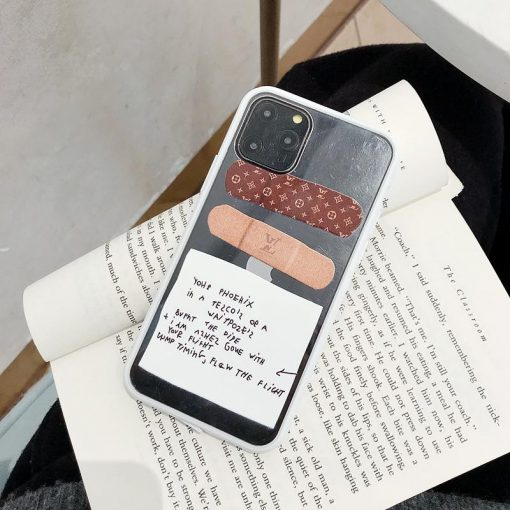 Louis Vuitton Style BandAid Clear Silicone Shockproof Protective Designer iPhone Case For iPhone 12 SE 11 Pro Max X XS Max XR 7 8 Plus - Casememe