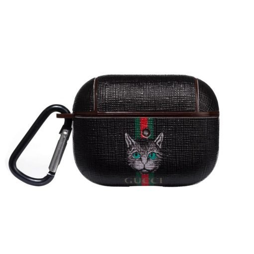 Gucci Style Stripe Cat Leather Protective Case For Apple Airpods Pro - Casememe