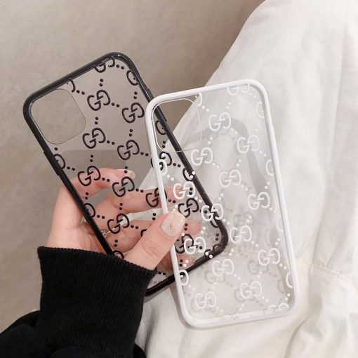 GUCCI Style Classic Logo Tempered Glass Shockproof Protective Designer iPhone Case For iPhone 12 SE 11 Pro Max X XS Max XR 7 8 Plus - Casememe