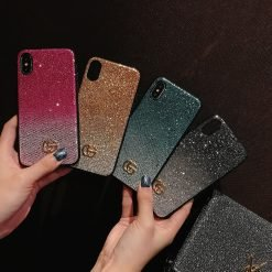 Gucci Style GG Marmont Glitter Shine Designer iPhone Case For iPhone X XS XS Max XR 7 8 Plus - Casememe