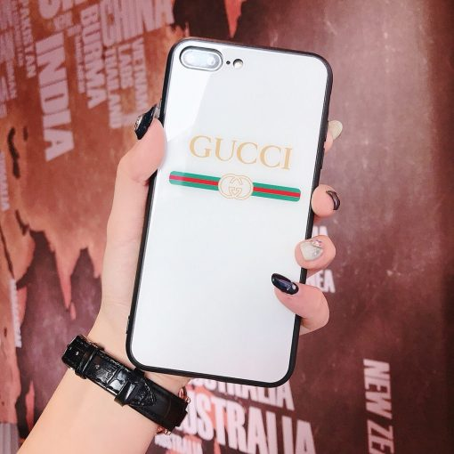 Gucci Style Tempered Glass Shockproof Protective Designer iPhone Case For iPhone 12 SE 11 Pro Max X XS Max XR 7 8 Plus - Casememe