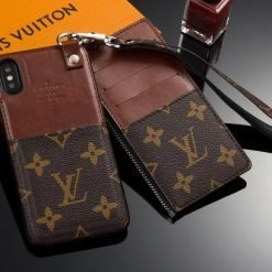 MORE COLORS Louis Vuitton Style Monogram Genuine Leather Attached Cardholder Designer iPhone Case For iPhone X XS XS Max XR 7 8 Plus - Casememe