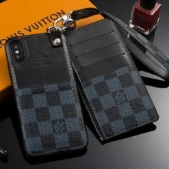 MORE COLORS Louis Vuitton Style Damier Genuine Leather Attached Cardholder Designer iPhone Case For iPhone X XS XS Max XR 7 8 Plus - Casememe
