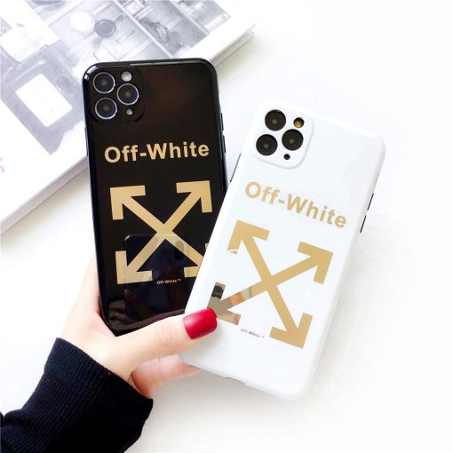 Off-White Style Electroplating Glossy TPU Silicone Designer iPhone Case For iPhone 12 SE 11 Pro Max X XS XS Max XR 7 8 Plus - Casememe