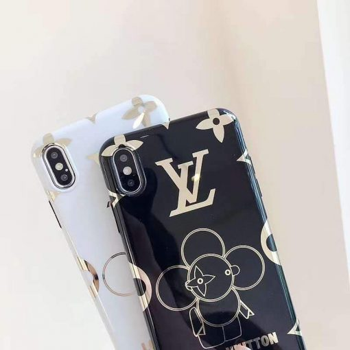 Louis Vuitton Style Takashi Murakami Electroplating Glossy TPU Silicone Designer iPhone Case For iPhone 11 Pro Max X XS XS Max XR 7 8 Plus - Casememe