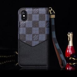 MORE COLORS Louis Vuitton Style Damier Magnetic Flap Wallet Leather Cardholder Designer iPhone Case For iPhone X XS XS Max XR 7 8 Plus - Casememe