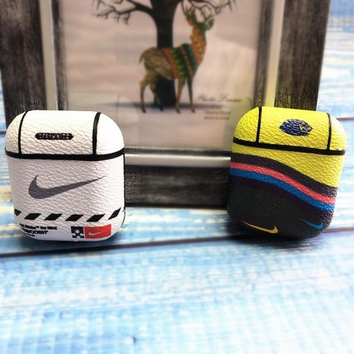 Nike Style Leather Protective Shockproof Case For Apple Airpods 1 & 2 - Casememe