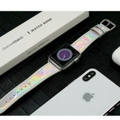 Laser Leather Glossy Compatible With Apple Watch 38mm 40mm 42mm 44mm Band Strap For iWatch Series 4/3/2/1 - Casememe
