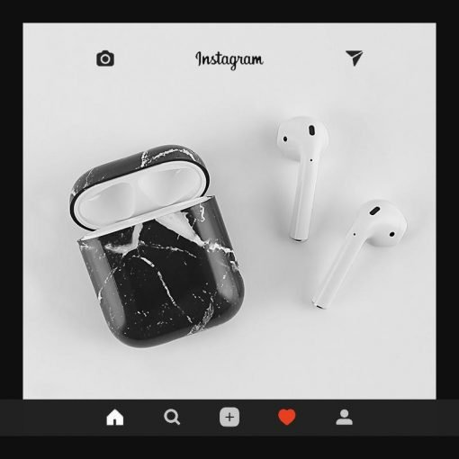 Black Marble Classic Protective Shockproof Case For Apple Airpods 1 & 2 - Casememe