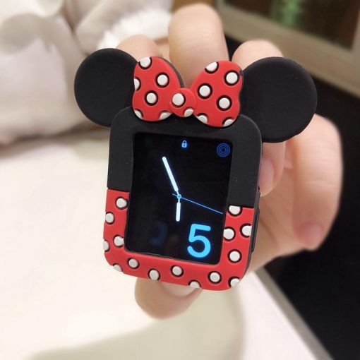 Minnie Mouse Style Polka Dots Silicone Compatible With Apple Watch Silicone Case 38mm 40mm 42mm 44mm For iWatch Series 4/3/2/1 - Casememe