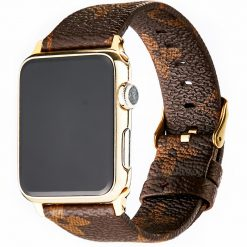 Luxury Style Classic Monogram Leather Compatible With Apple Watch iWatch 38mm 40mm 42mm 44mm Band Strap For iWatch Series 4/3/2/1 - Casememe