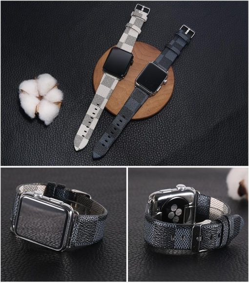 MORE COLORS Luxury Style Classic Damier Leather Compatible With Apple Watch 38mm 40mm 42mm 44mm Band Strap For iWatch Series 4/3/2/1 - Casememe