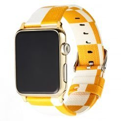 Luxury Style Yellow Damier Leather Compatible With Apple Watch 38mm 40mm 42mm 44mm Band Strap For iWatch Series 4/3/2/1 - Casememe