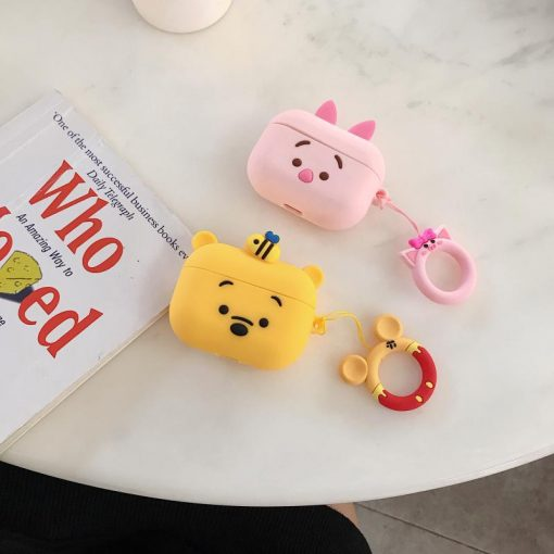 Winnie The Pooh Style Ring Holder Designer Silicone Protective Case For Apple Airpods Pro - Casememe