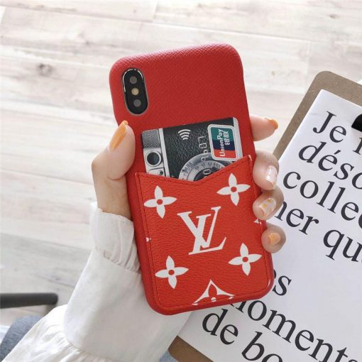 Louis Vuitton Style Candy Color Leather Cardholder Designer iPhone Case For iPhone X XS XS Max XR 7 8 Plus - Casememe