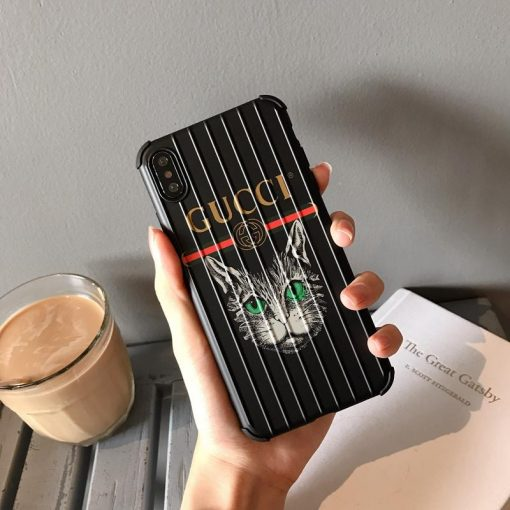Gucci Style Cat Luggage Shockproof Designer iPhone Case For iPhone X XS XS Max XR 7 8 Plus - Casememe
