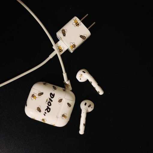 Dior Style Honeybee AirPods Skin Sticker Adhesive Protective Decal For Apple AirPods 1 & 2 - Casememe