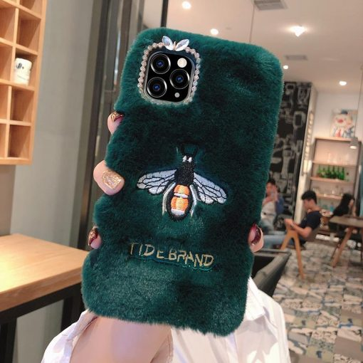 Embroidery Luxury Bee Furry Shockproof Protective Designer iPhone Case For iPhone SE 11 Pro Max X XS Max XR 7 8 Plus - Casememe