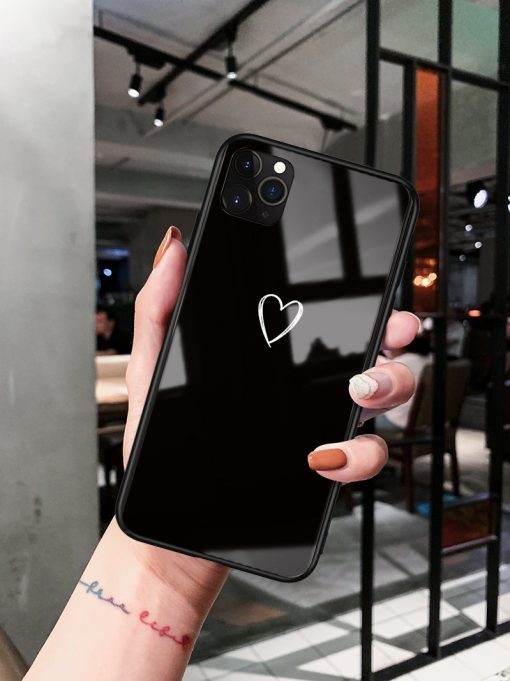 Minimalism Heart Tempered Glass Shockproof Protective Designer iPhone Case For iPhone SE 11 Pro Max X XS Max XR 7 8 Plus - Casememe