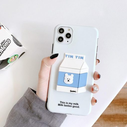 Bear Milk 3D Box Silicone Shockproof Protective Designer iPhone Case For iPhone 11 Pro Max X XS Max XR 7 8 Plus - Casememe