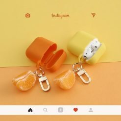 Orange Peel Summer Fruit Silicone Protective Shockproof Case For Apple Airpods 1 & 2 - Casememe