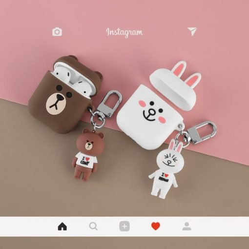 LINE Friends Bear Rabbit Cute Silicone Protective Shockproof Case For Apple Airpods 1 & 2 - Casememe