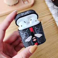 GC Style Bee Snake Leather Box Designer Protective Shockproof Case For Apple Airpods 1 & 2 - Casememe