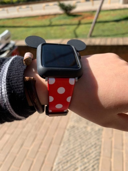 Disney Mickey Mouse Style Silicone Watch Case Compatible With Apple Watch 38mm 40mm 42mm 44mm Leather Polka Dots Band Strap For iWatch Series 4/3/2/1 - Casememe