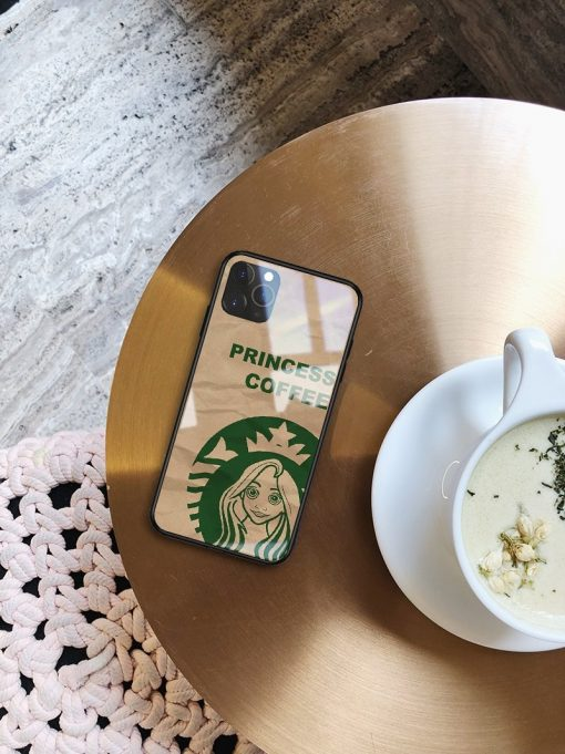 Princess Coffee Tempered Glass Shockproof Protective Designer iPhone Case For iPhone SE 11 Pro Max X XS Max XR 7 8 Plus - Casememe