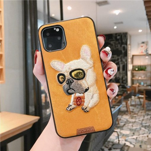 Husky French Bulldog Leather Embroidery Shockproof Protective Designer iPhone Case For iPhone 11 Pro Max X XS Max XR 7 8 Plus - Casememe