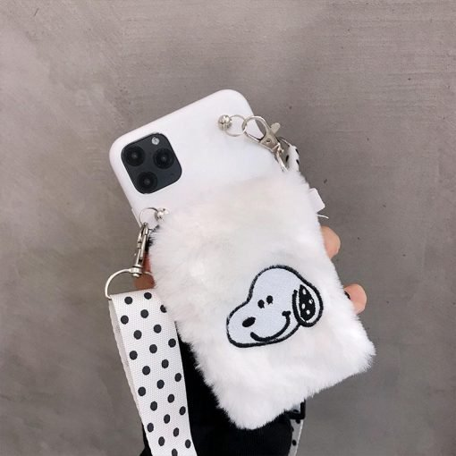 Snoopy Style Lanyard Furry Shockproof Protective Designer iPhone Case For iPhone SE 11 Pro Max X XS Max XR 7 8 Plus - Casememe