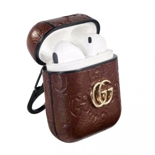 MORE COLORS Gucci Style Shimmer Logo Leather Protective Shockproof Case For Apple Airpods 1 & 2 - Casememe