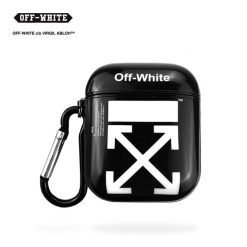 Off White OW Style Glossy Hard Silicone Protective Shockproof Case For Apple Airpods 1 & 2 - Casememe