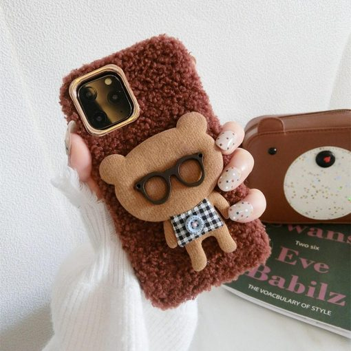 Bear with Glasses Furry Bumper Frame Shockproof Protective Designer iPhone Case For iPhone SE 11 Pro Max X XS Max XR 7 8 Plus - Casememe