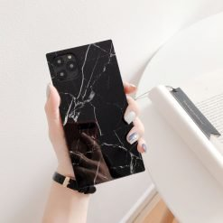 Black Marble Modern Glossy Square Silicone Shockproof Protective Designer iPhone Case For iPhone SE 11 Pro Max X XS Max XR 7 8 Plus - Casememe