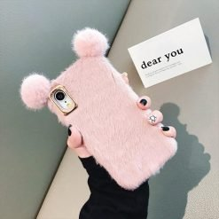 Bear Ears Furry Shockproof Protective Designer iPhone Case For iPhone SE 11 Pro Max X XS Max XR 7 8 Plus - Casememe