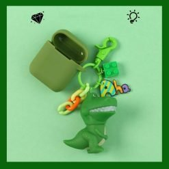 Green Dinosaur Pendant Silicone Protective Case For Apple Airpods Pro - Casememe