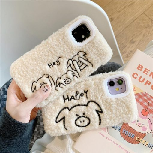 Stitched Piggy Furry Shockproof Protective Designer iPhone Case For iPhone SE 11 Pro Max X XS Max XR 7 8 Plus - Casememe
