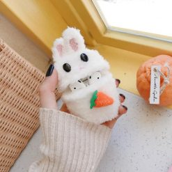 Cute Rabbit Carrot Furry Protective Case For Apple Airpods 1 & 2 - Casememe