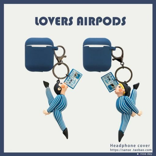 Dancing Couple Keychain Silicone Protective Case For Apple Airpods 1 & 2 - Casememe