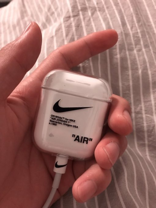 Nike x Off White OW Style Clear Hard Protective Shockproof Case For Apple Airpods 1 & 2 - Casememe
