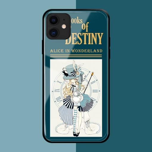 Alice In Wonderland Style Tempered Glass Shockproof Protective Designer iPhone Case For iPhone SE 11 Pro Max X XS Max XR 7 8 Plus - Casememe